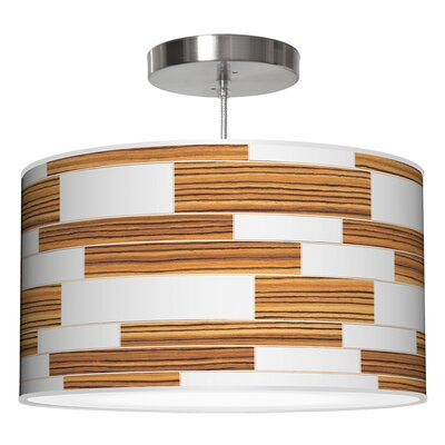 Tile 3 Drum Pendant Shade Color: Zebrawood, Size: 9 H x 20 W x 20 D