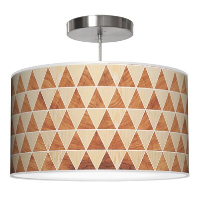 Triangle 2 Drum Pendant Shade Color: Oak / Mahogany, Size: 9 H x 16 W x 16 D