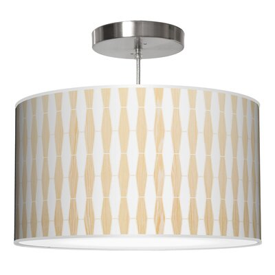 Weave 1 Drum Pendant Shade Color: White Oak, Size: 9 H x 20 W x 20 D