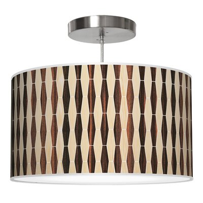 Weave 2 Drum Pendant Shade Color: Oak / Ebony, Size: 9 H x 20 W x 20 D