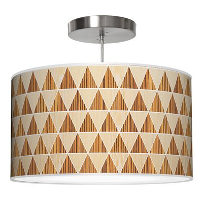Triangle 2 Drum Pendant Shade Color: Oak / Zebrawood, Size: 9 H x 20 W x 20 D