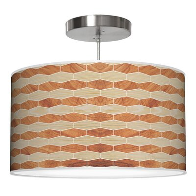Weave 4 Drum Pendant Shade Color: Oak / Mahogany, Size: 9 H x 16 W x 16 D