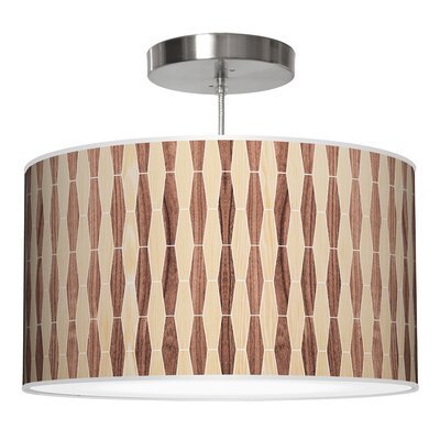 Weave 2 Drum Pendant Shade Color: Oak / Walnut, Size: 9 H x 16 W x 16 D
