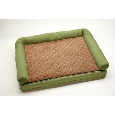 "2 'N 1 Comfort Lounge Dog and Cat Bolster Size: Large (48"" L x 36"" W), Color: Moss / Toast"