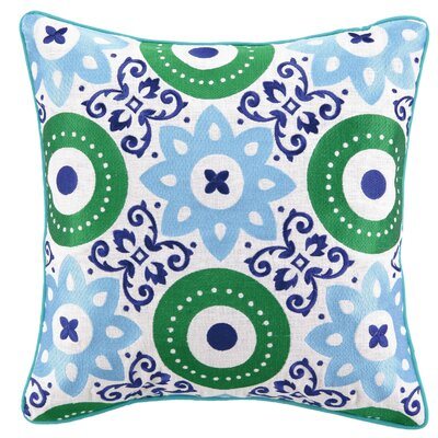Adalina Embroidered Linen Throw Pillow Color: Blue