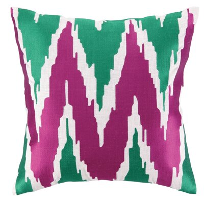 Sarah Embroidered Linen Throw Pillow Color: Pink/Green