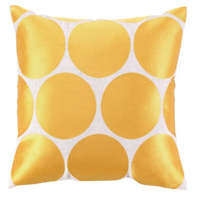 Erin Embroidered Linen Throw Pillow Color: Gold