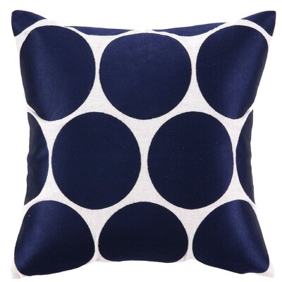 Erin Embroidered Linen Throw Pillow Color: Blue
