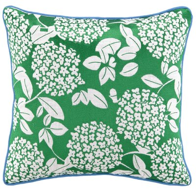 Cipriana Embroidered Linen Throw Pillow Color: Green