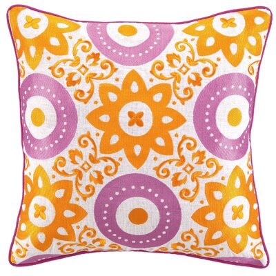 Adalina Embroidered Linen Throw Pillow Color: Pink