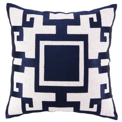Kara Embroidered Linen Throw Pillow Color: Blue
