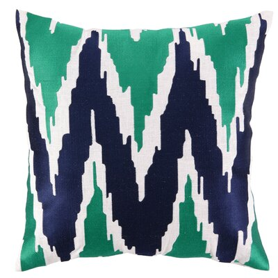 Sarah Embroidered Linen Throw Pillow Color: Blue/Green