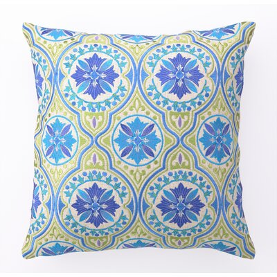 Back Bay Embroidered Linen Throw Pillow Color: Blue Green