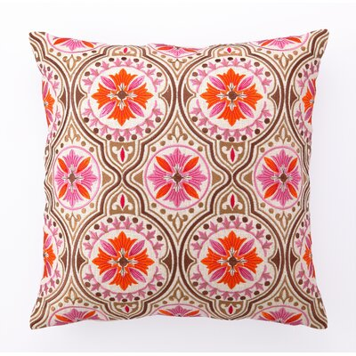 Back Bay Embroidered Linen Throw Pillow Color: Pink Brown