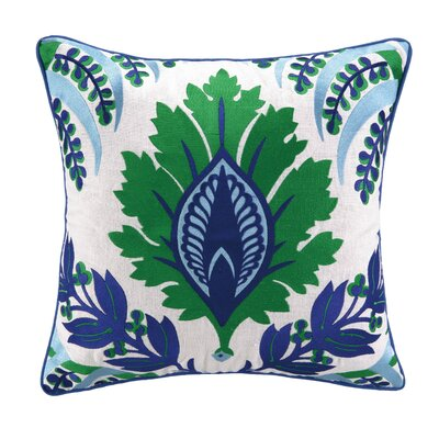 Pina Embroidered Linen Throw Pillow Color: Blue