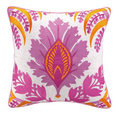 Pina Embroidered Linen Throw Pillow Color: Pink