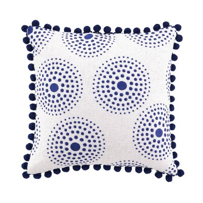 Antonia Embroidered Linen Throw Pillow Color: Blue