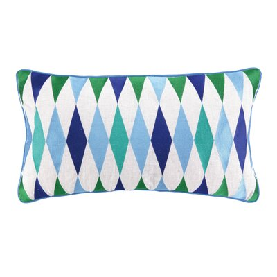 Franca Embroidered Linen Throw Pillow Color: Blue
