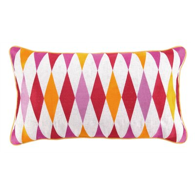 Franca Embroidered Linen Throw Pillow Color: Pink