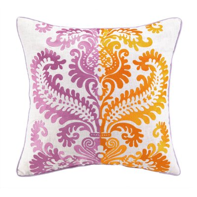 Barcelona Embroidered Linen Throw Pillow Color: Jamie
