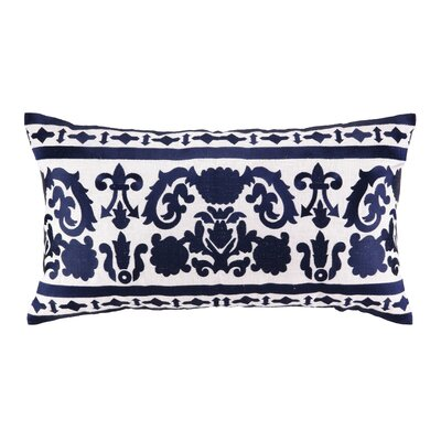 Lily Embroidered Linen Lumbar Pillow Color: Blue