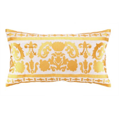 Lily Embroidered Linen Lumbar Pillow Color: Gold