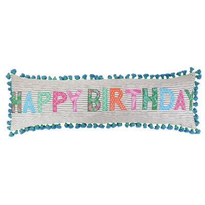 Happy Birthday Linen Throw Pillow