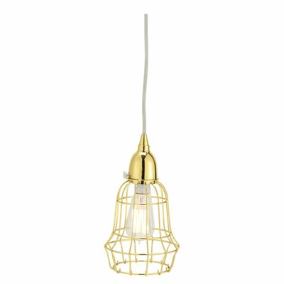 Wire Barrel 1-Light Pendant Color: Gold