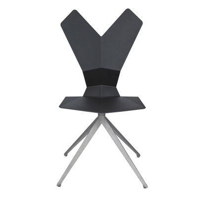 Y Swivel Side Chair with Seat Pad Shell Finish: Black, Upholstery: Yellow, Base Finish: Black