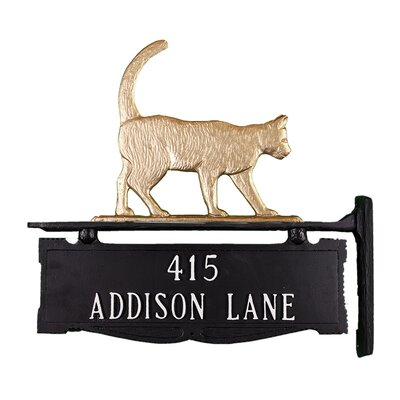 Two Line Post Address Sign with Cat Finish: Gold Bronze +NULL