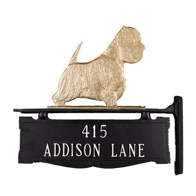 Two Line Post Address Sign with West Highland White Terrier Finish: Gold Bronze