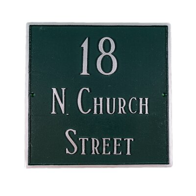 Classic Large Square Address Plaque Finish: Taupe / White, Mounting: Wall