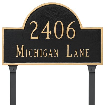Classic Arch Two Line Address Plaque with Lawn Stakes Finish: Aged Bronze/Gold