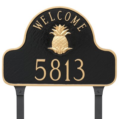 Pineapple Welcome One Line Address Plaque Finish: Aged Bronze/Gold