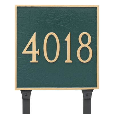 Classic Square Large One Line Address Plaque Finish: Hunter Green/Gold