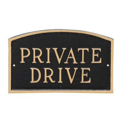 Arch Private Drive Statement Address Plaque Finish: Black/Gold, Size: 5.5 H x 9 W x 0.25 D