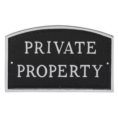 Arch Private Property Statement Address Plaque Finish: Black/Silver