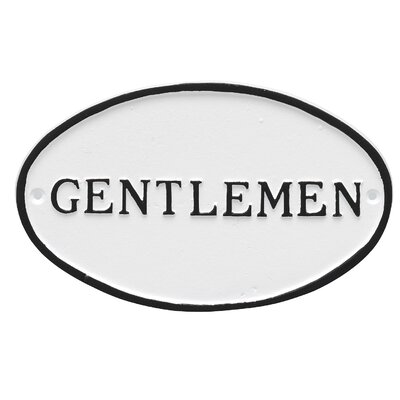 Oval Gentlemen Restroom Statement Address Plaque Finish: White/Black