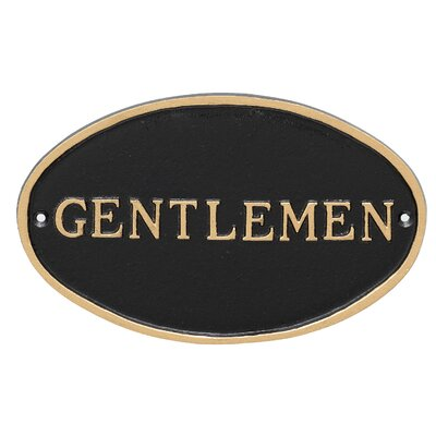 Oval Gentlemen Restroom Statement Address Plaque Finish: Black/Gold