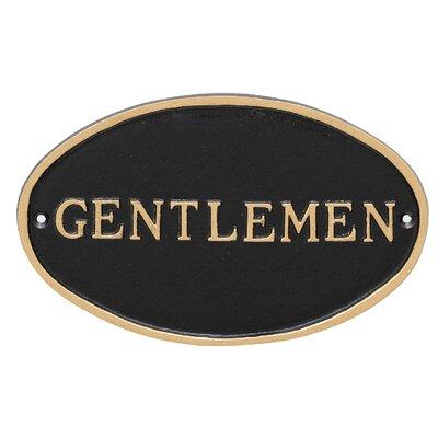 Oval Gentlemen Restroom Statement Address Plaque Finish: Black/Gold