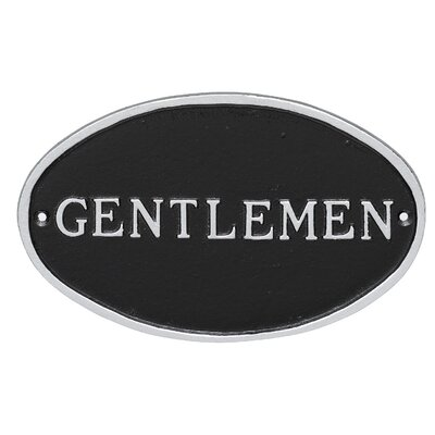 Oval Gentlemen Restroom Statement Address Plaque Finish: Black/Silver