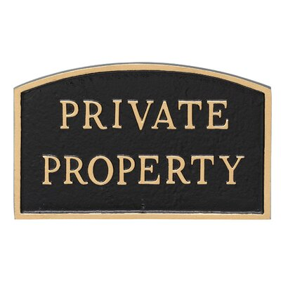Arch Private Property Statement Address Plaque Finish: Black/Gold