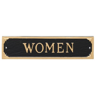 Women Restroom Statement Address Plaque Finish: Black/Gold