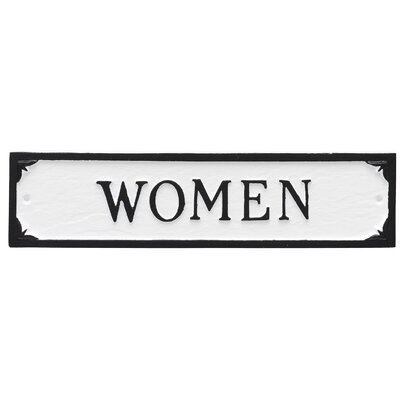 Women Restroom Statement Address Plaque Finish: White/Black