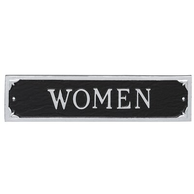 Women Restroom Statement Address Plaque Finish: Black/Silver
