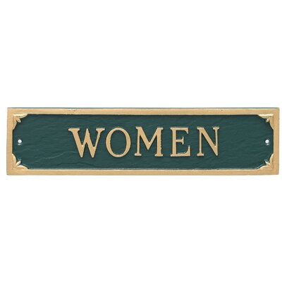 Women Restroom Statement Address Plaque Finish: Hunter Green/Gold