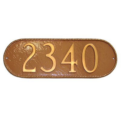 Rope Oblong Address Plaque Finish: Brick Red / Gold, Mounting: Lawn