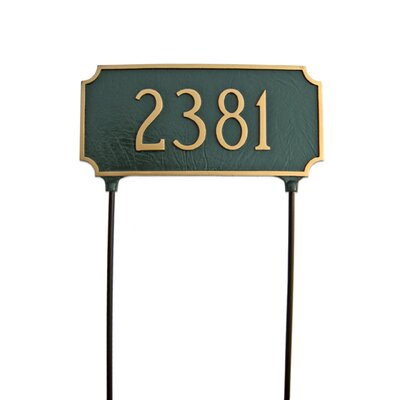 Princeton Two Sided Lawn Address Sign Finish: White / Gold, Mounting: Wall