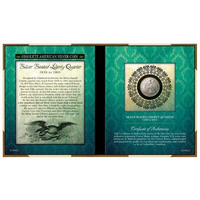 Obsolete American Silver Coin Seated Liberty Silver Quarter Memorabilia