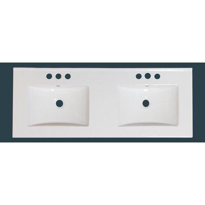 Xena Ceramic 59 le Bathroom Vanity Top Faucet Mount: 8 Centers